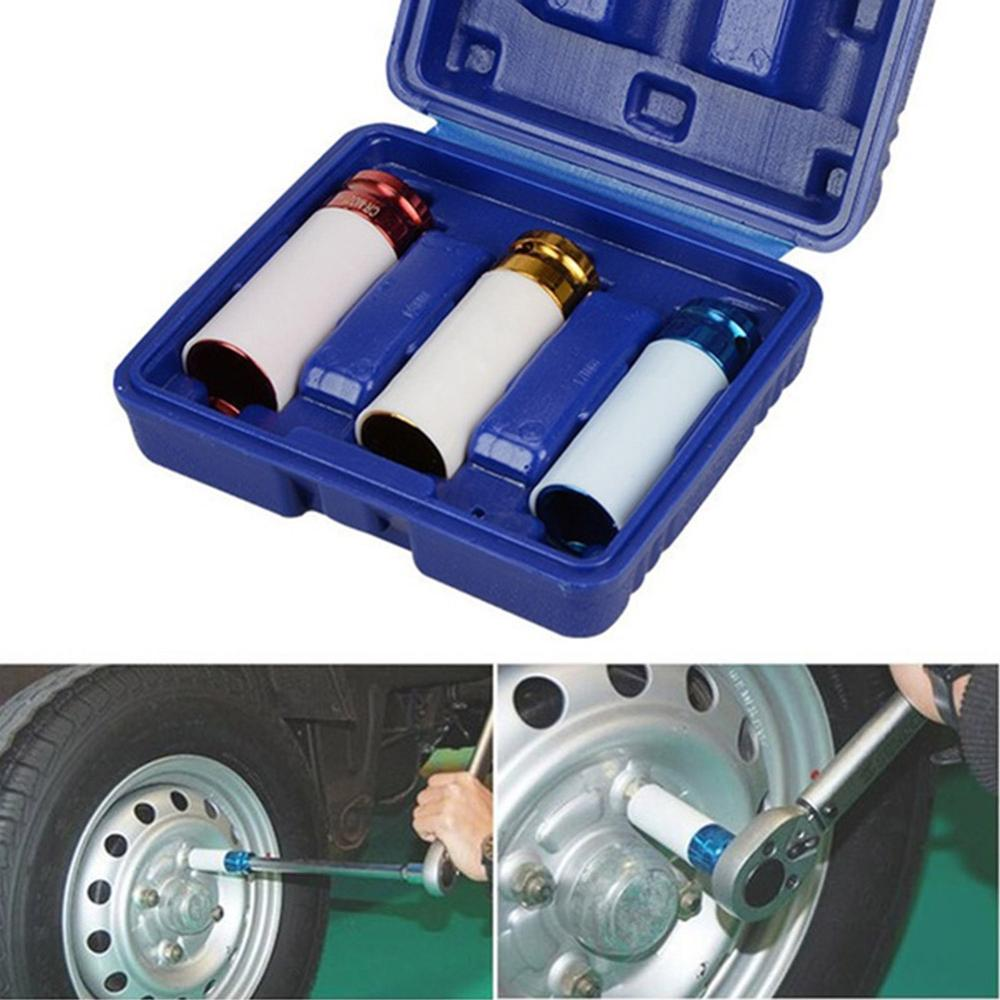 1/2'' 3Pcs Alloy Sleeve Drive Thin Wall Wheel Deep Impact Nut Remover Socket Set 17mm 19mm 21mm Car Garage Maintain Repair-Tool