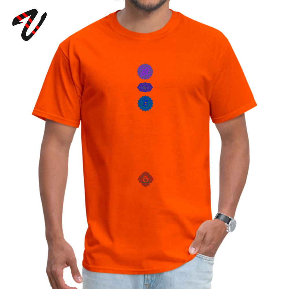 100% Cotton Fabric Men Short Sleeve Chakra spiritual meditation T Shirts Print T Shirt High Quality Summer Crewneck T Shirts 7 Chakra spiritual meditation 4718 orange