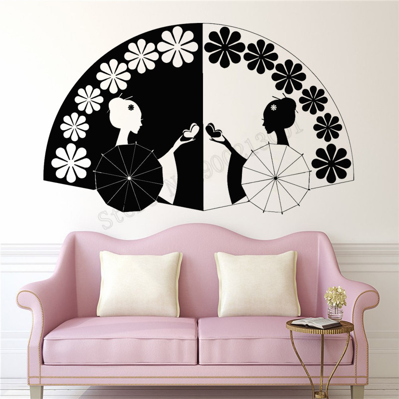 5624b714b96 Geisha Hand Fan Asian Wall Sticker Vinyl Beauty Design Ornament Removeable  Poster Livingroom Bedroom Decals Mural Decor LY1134