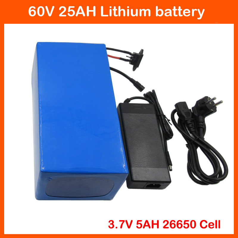 Free customs fee 60V <font><b>3000W</b></font> Lithium <font><b>Scooter</b></font> Battery 60V 25AH Electric Bike Battery 3.7V 26650 cell 50A BMS 67.2V 2A Charger image