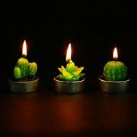 6 шт. неразливной мини Кактус Свеча декоративная чай свет свечи для рождественвечерние вечеринки Hallowmas Свадебные украшения день рождения св...