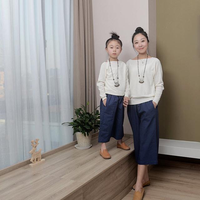 Crianças roupas mulheres menina crianças da família roupas combinando olhar família mãe filha roupas Confortáveis calças casaco camisola fina