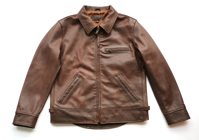 Free shipping.super quality cow leather jacket.american style.genuine leather jackets.brown classic man motor coat.sales