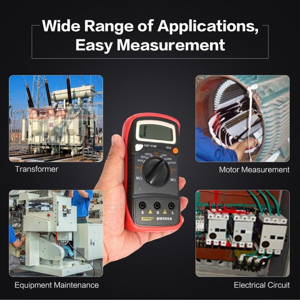 Dropshipping BM500A 1000V Digital Megger Auto Range Insulation Resistance ohm Meter Tester Multimeter Voltmeter LED indication as907a digital insulation tester megger with voltage range 500v 1000v 2500v