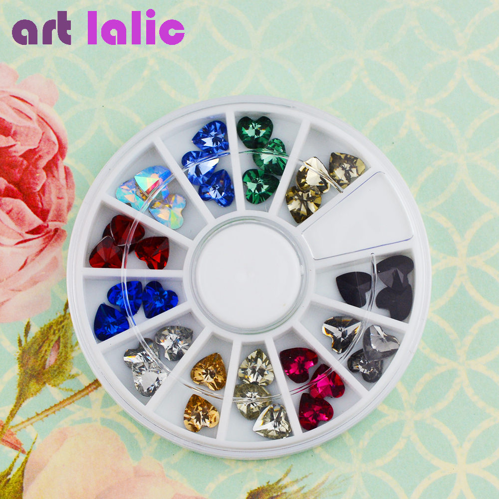 Artlalic 1 Wheel 12 Colors 3D Heart Shape Crystal Rhinestones Glitter Gem Nail Art Polish Tips Decoration Manicure Jewelry Tool diy 3d glitter nail art rhinestones crystal wheel design mix colors acrylic uv gel nail tips gems decoration manicure tools