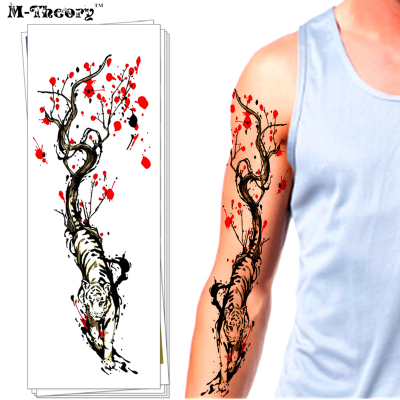 M-Theory Waterproof 3d Arm Sleeve Temporary Tattoo Sticker Magic Henna Flash Tattoo Body Arts Swimsuit Tatoo Makeup Tools