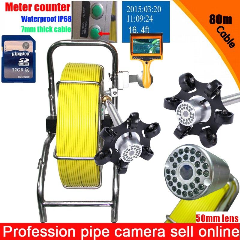 "100 m DVR tubería de desagüe cámara de inspección del sistema de tubería de agua, sistema de cámara con 7 ""LCD Monitor contador con cámara de 50mm"