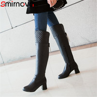 Smirnova NEW arrive over the knee boots 2020 big size pu leather long boots elegant pointed toe ladies thigh boots zipper shoes