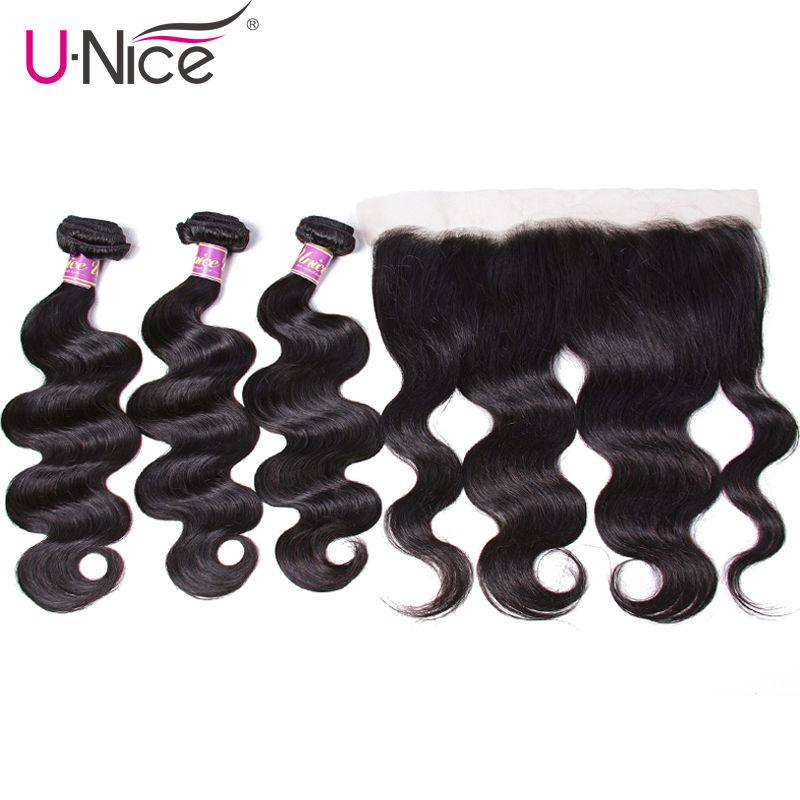 Unice Hair Body Wave Peruvian Hair Lace Frontal Closure With Bundles 4 PCS Remy Hair 100% Human Hair Extensions Natural Color