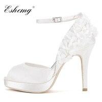 Eshemg/2019 свадебные туфли для невесты, белые женские туфли лодочки с бусинами, туфли на высоком каблуке, женские вечерние туфли с открытым носк
