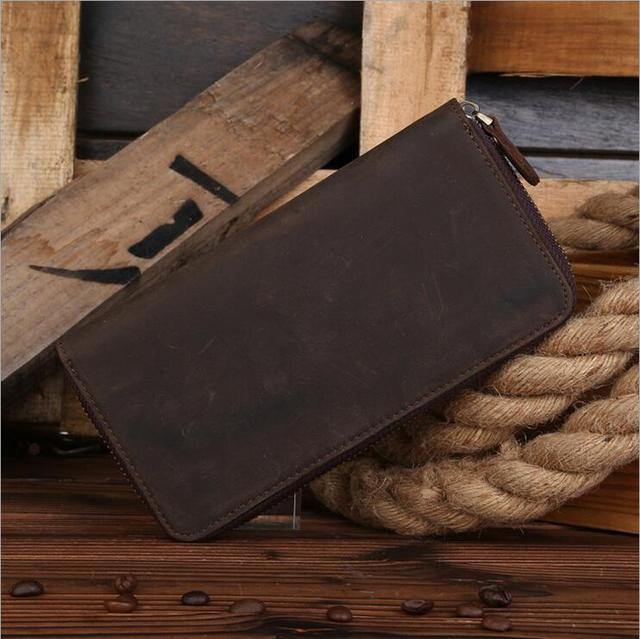 New Arrival Vintage Genuine Leather Crazy Horse Leather Men's Wallet With Credit Card Holder Fold Design Mens Handmade Carteira