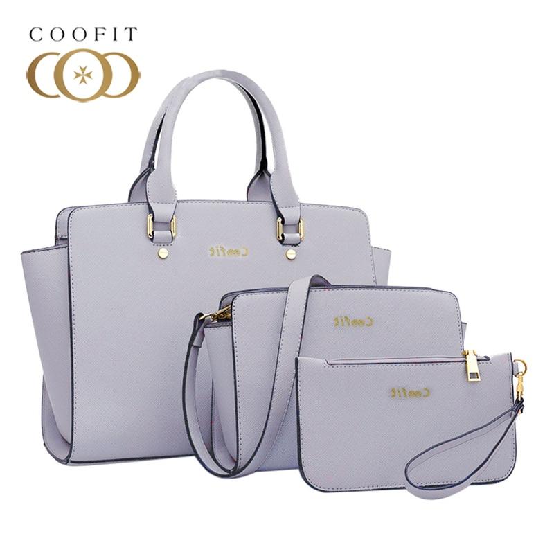 Coofit 3 Set Composite Bag Women European And American Style Toothpick Pattern Handbag Blue Female Composite Bags Set Sac A Main coofit luxury composite bag set women