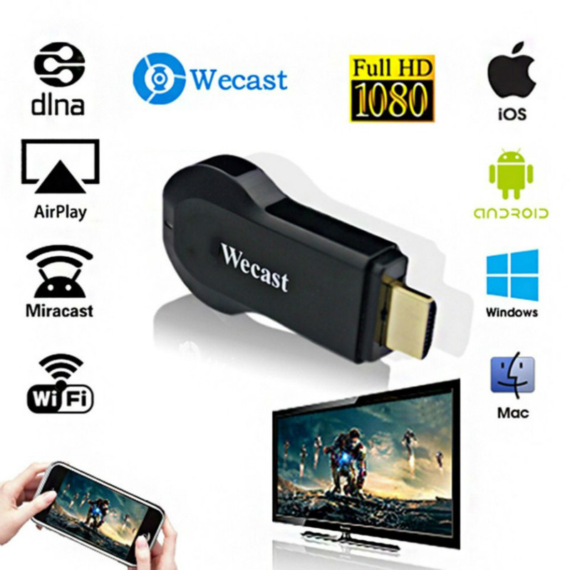 Original Wecast C2+ Miracast DLNA Wireless WiFi Display TV Dongle HDMI Streaming Media Player Support Mirroring Android Systerm