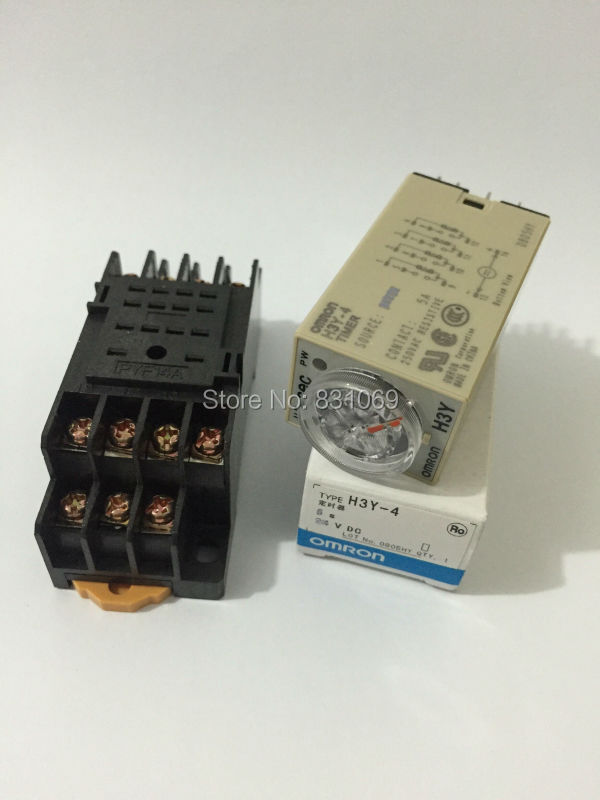 1Set H3Y-4 AC220V Delay Timer Time Relay 0-30 Seconds 220VAC & Base Brand New genuine taiwan research anv time relay ah2 yb ac220v