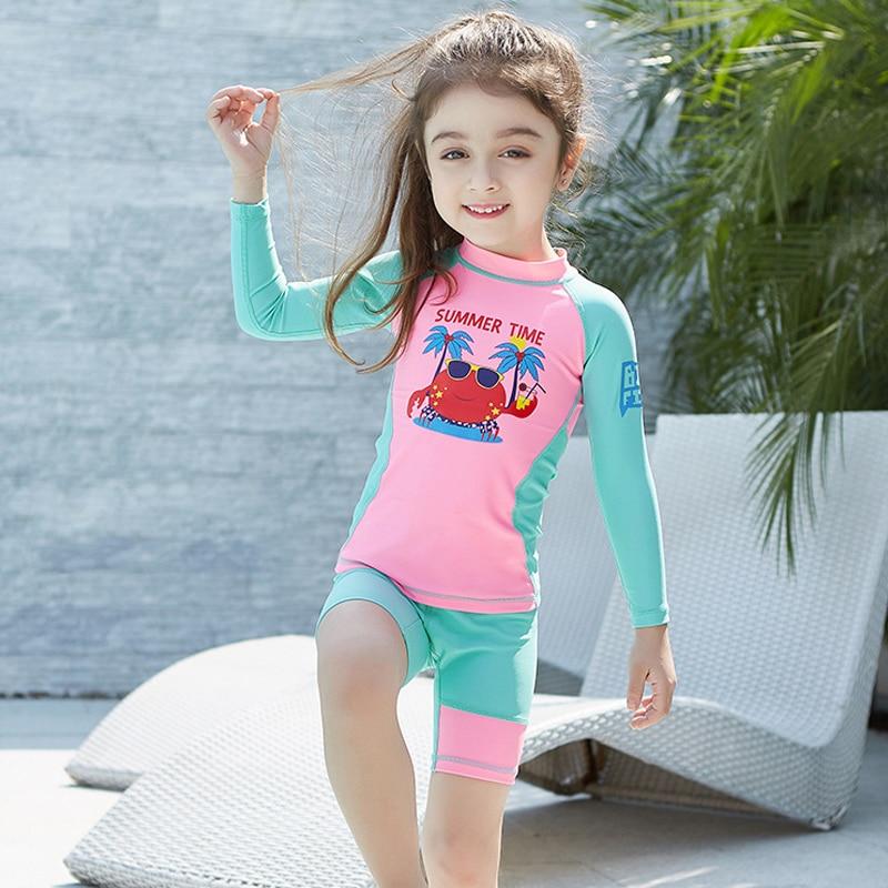 d7fc187acc crab 3-9 years old girls swimsuit boys children Swimwear Summer Beach Bathing  Suit Children long sleeves Kids Girl Swimsuit 358