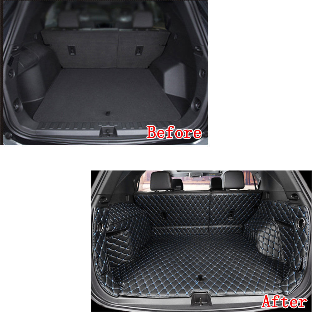Car Rear Trunk 3D Liner Cargo Mat Pad Waterproof Black Leather Fit For Chevrolet Equinox 2018 Car Styling Accessories Car Covers car rear trunk security shield cargo cover for honda fit jazz 2008 09 10 11 2012 2013 high qualit black beige auto accessories