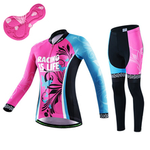 NEW Brand Spring Autumn Cycling Jersey sets Women bike wear clothing bicicleta Bright Long Sleeve MTB Sport bicycle clothes