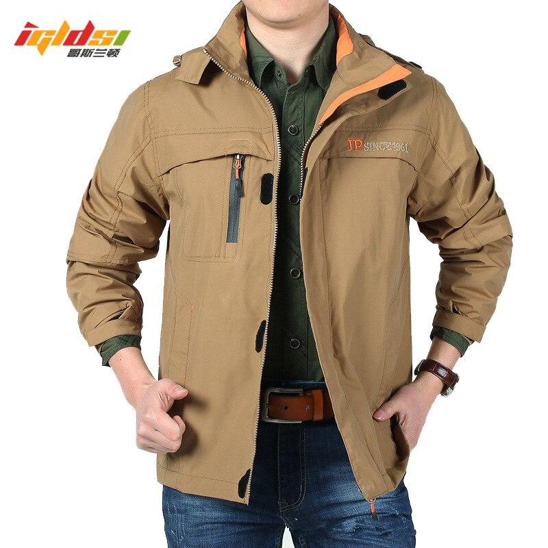 Hommes marque printemps à capuche veste militaire outwear doux Shell veste imperméable coupe-vent multi poches armée veste manteau M-4XL