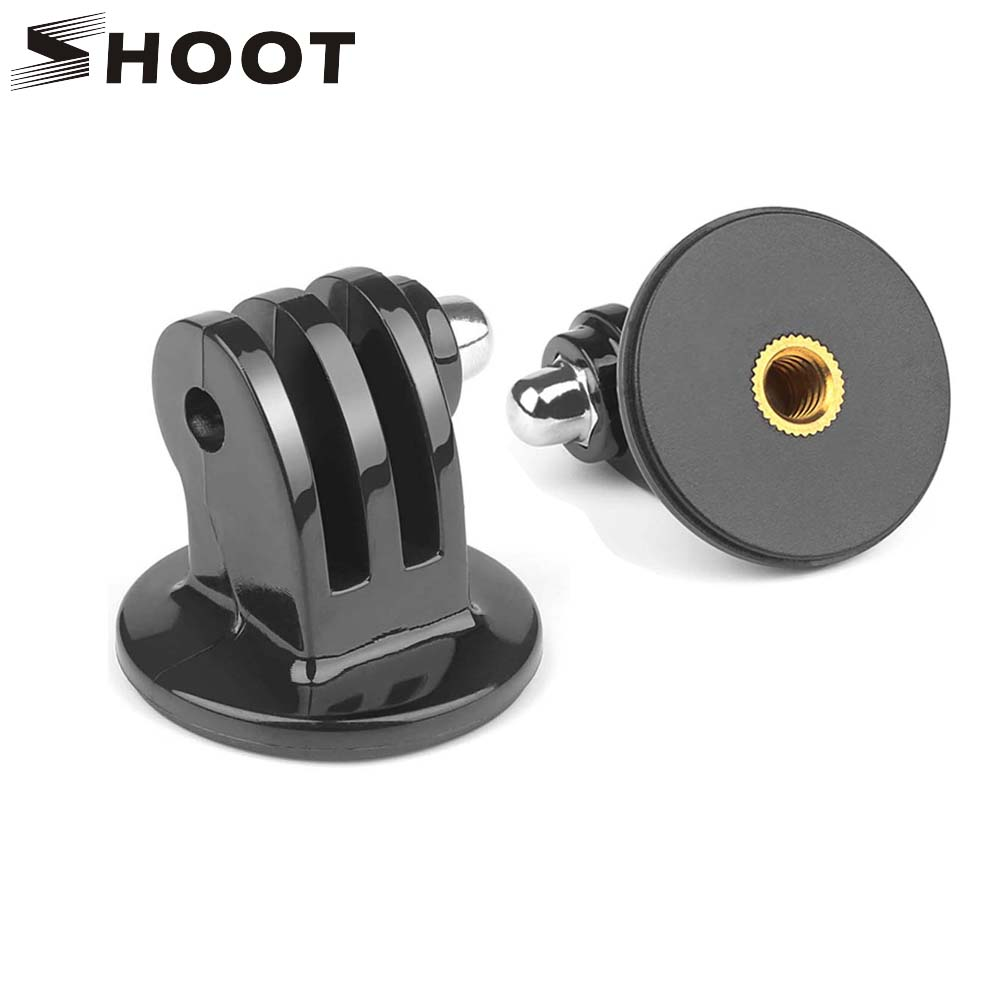 SHOOT Tripod Adapter Mount for Gopro Hero 6 5 4 3 Session SJCAM SJ4000 With 1/4 Inch Hole For Xiaomi Yi 4K Camera Accessories miniisw m ac universal curved surface mount kit for gopro hero 4 3 3 hero2 hero sj4000 black