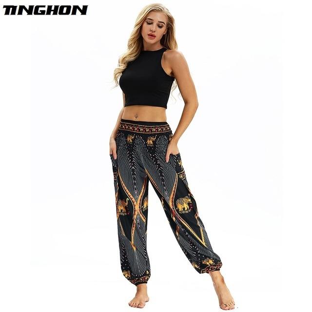 5ce67805df3 TINGHON Golden elephant 3D Print Harem Pants Vintage Wide Leg Trousers Yuga  Sporting Loose Bottom Elastic