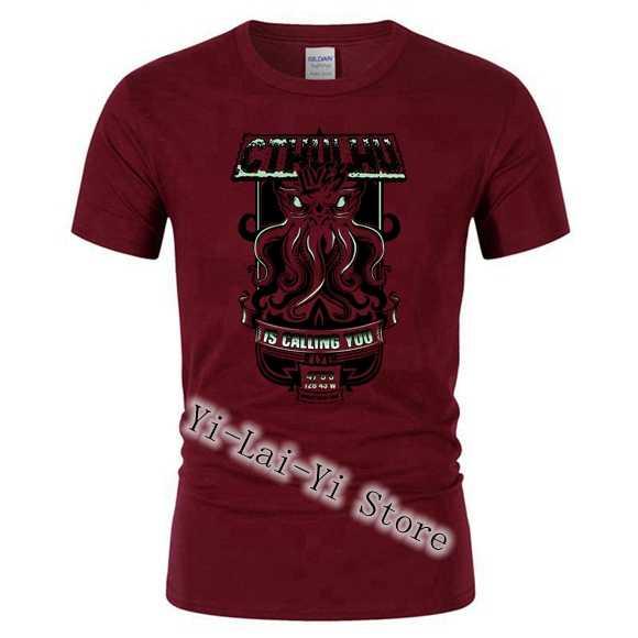 UM Selvagem Cthulhu T-Shirt Dos Homens Tops Gato Ou Monstro TShirt Top Crânio Dos Desenhos Animados Dos Homens Camisas dos homens T de Roupas Bonito engraçado T Preto