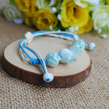 Pop New Original vintage Ceramics beads Girls Bracelet Good Lucky cute Lover Lovers Jewelry Women Gift