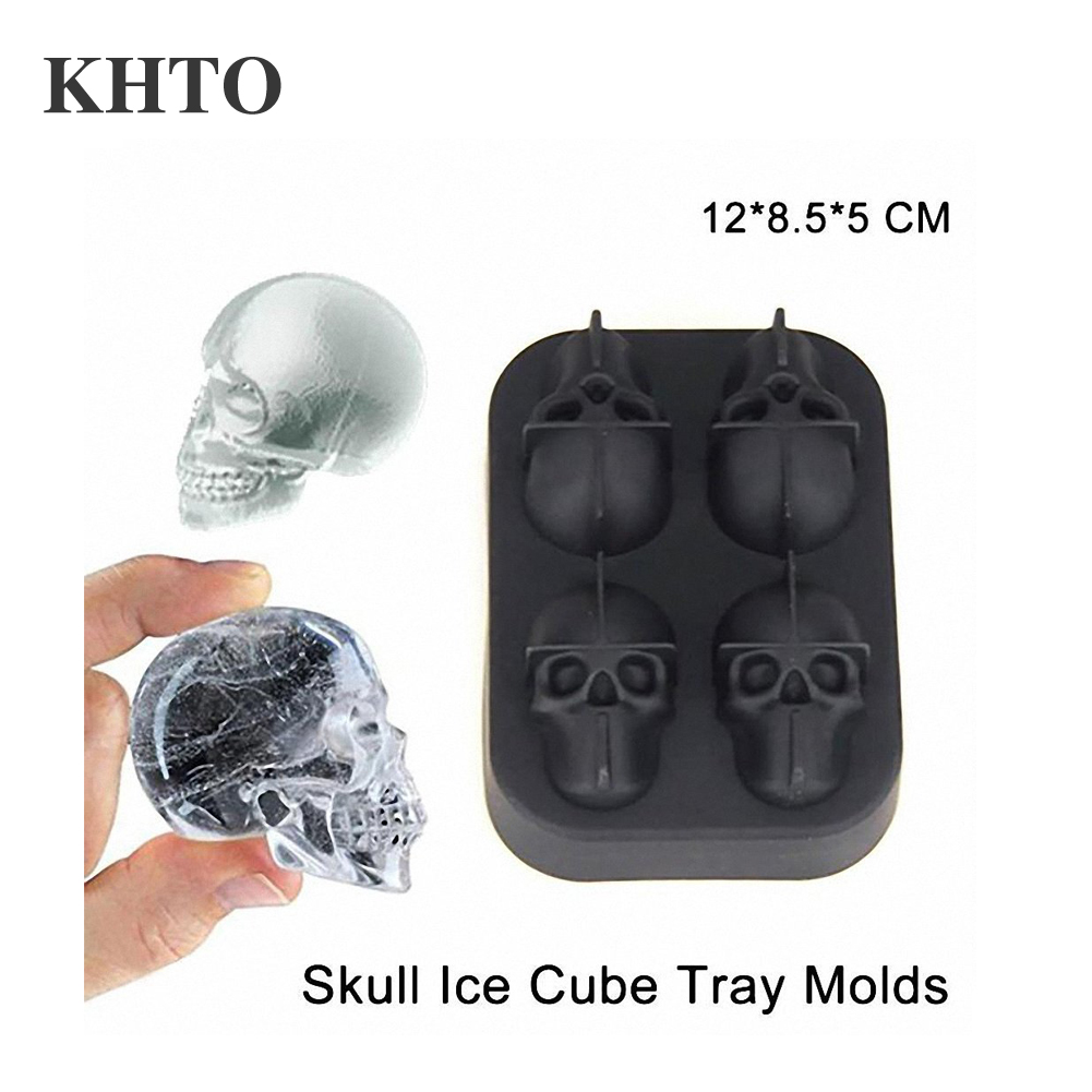 Skull Shaped Whisky Cocktail Ice Cubes Tray Silicone Mold Candy Ice Cream Mold Pudding Soap Ice Moulds Halloween gift