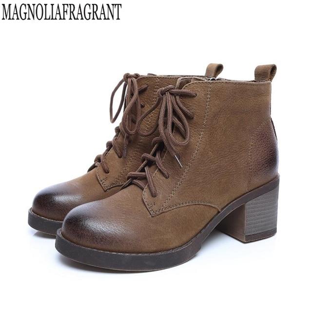 l'automne d'hiver des femmes rétro bottes Bottes femme martin bottes bottes basse en cuir véritable lCunkx