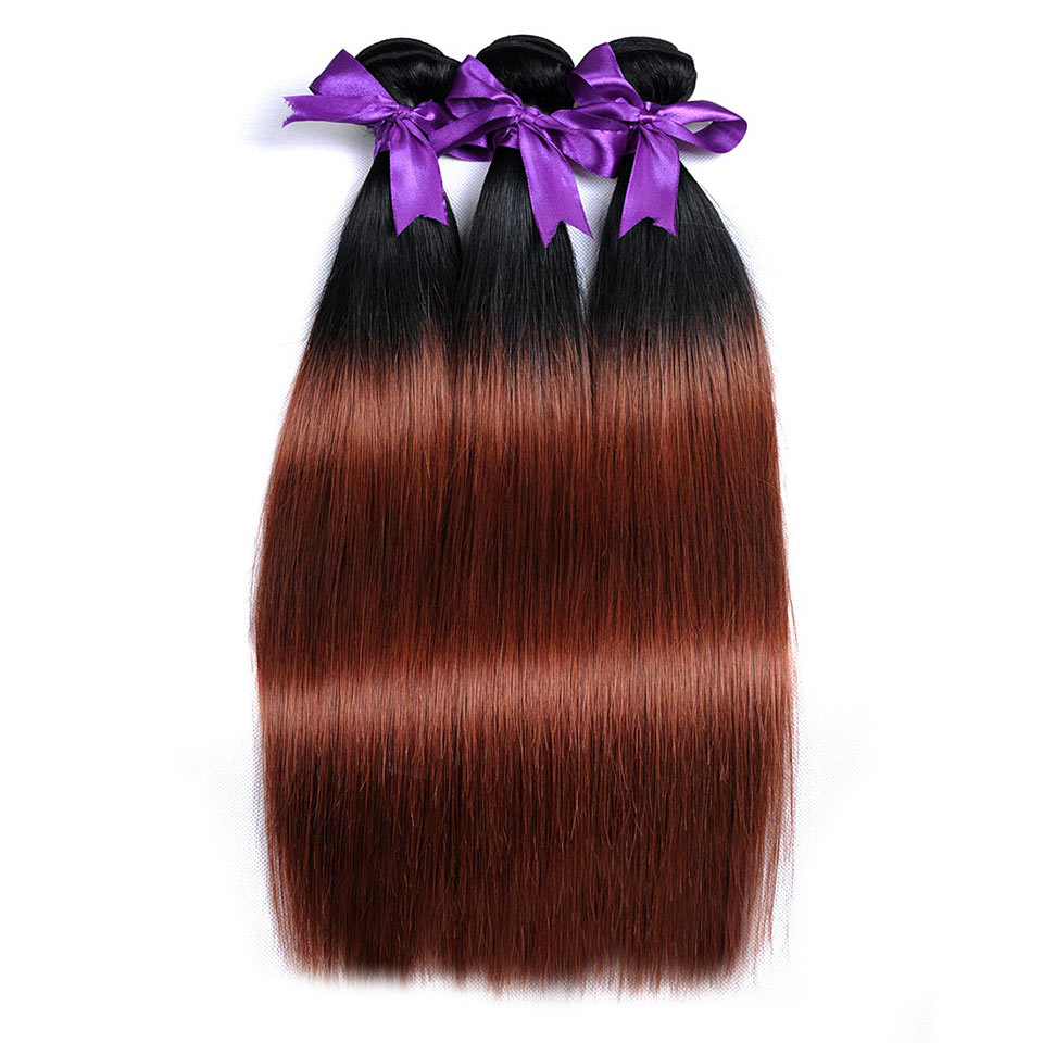 Shining Star Peruvian Straight Hair Weave Ombre Human Hair Bundles T1B/33 Non-Remy Hair Extensions