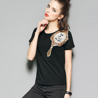 Novelty Shirt New 2017 Summer Top Grade Women Luxury Mirror Sequined Embroidery Black White Short Sleeve