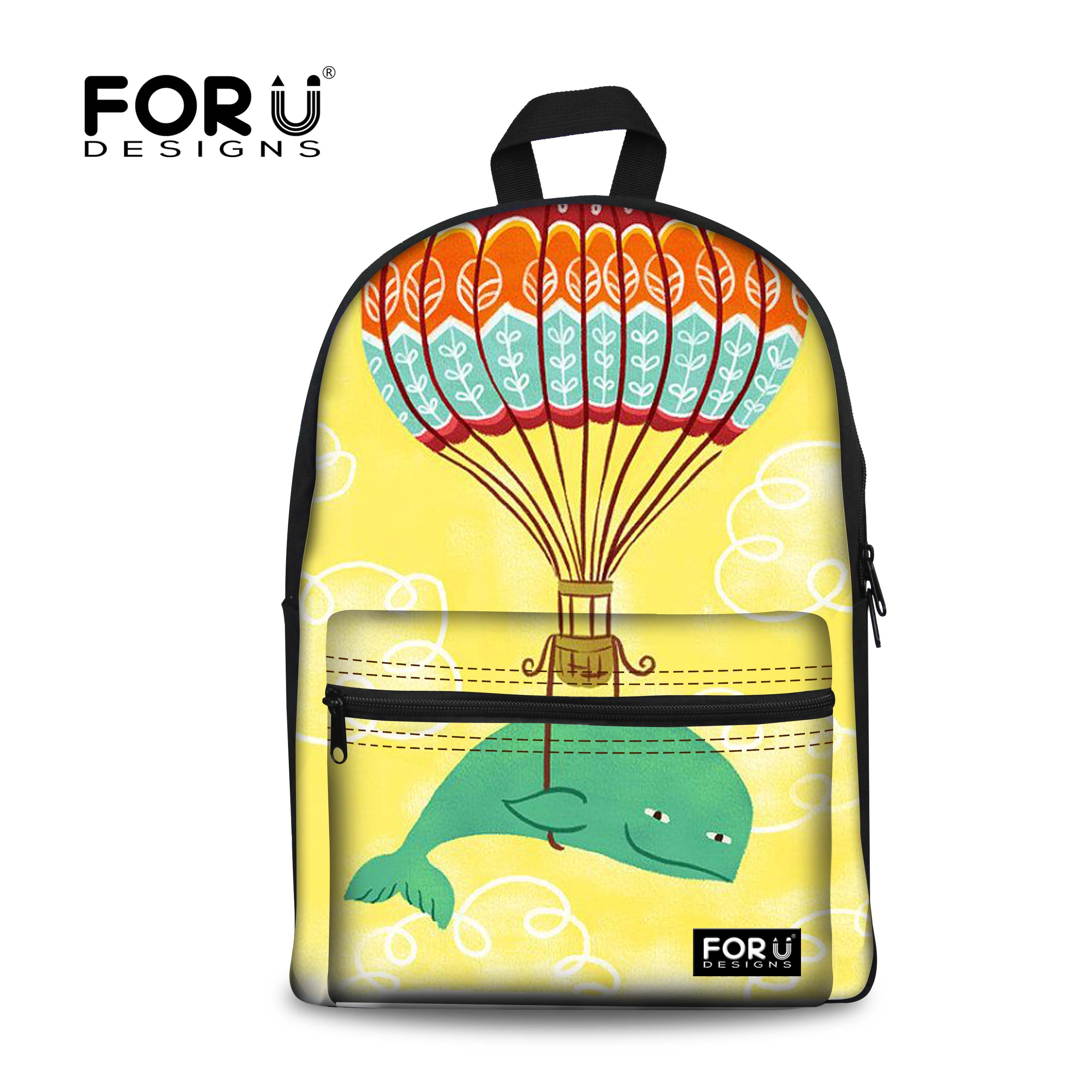 FORUDESIGNS Kawaii School Bags For Teen Girls Cartoon Fire Balloon Animal Print Backpack Whale Book Bag Rucksack For Women Lady