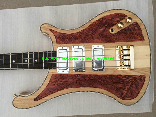 Custom Natural 4003 Bass Guitars 3 pickup one piece neck Electric ...