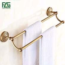Hot Sale Wholesale And Retail Promotion Antique Brass Luxury Bathroom Flower Carved Towel Rack Holder Dual Towel Bars brass antique single towel bars bathroom wall mounted towel rod holder wholesale and retail bathroom accessory