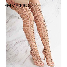 2019 Cross-Tied Over The Knee Long Gladiator Sandals For Wom