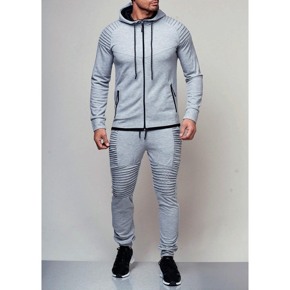Men's Autumn Hoodies Tracksuit Set Male Zipper  1