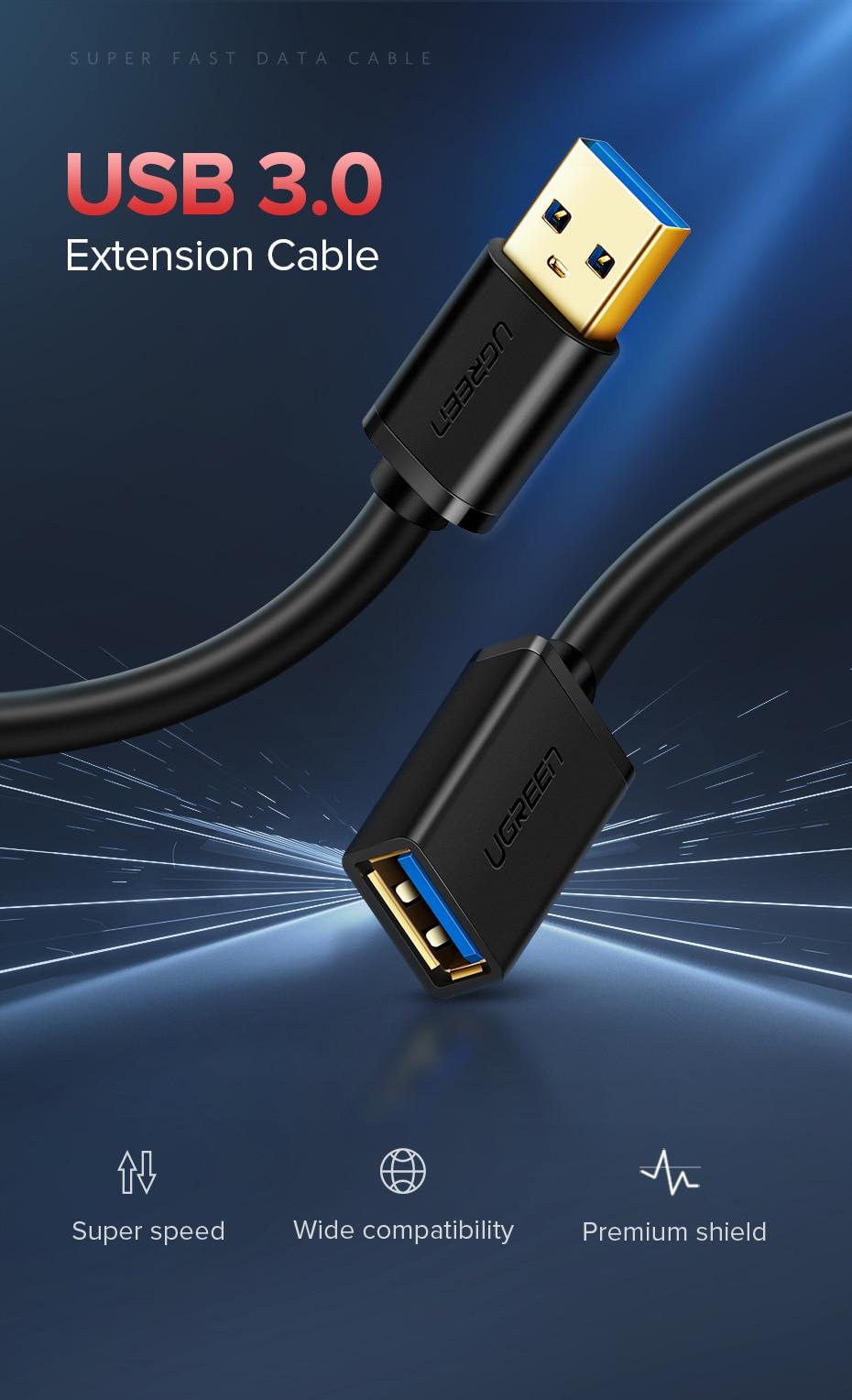 90cm potencia de datos USB//Cargador Cable Negro para Cámara GoPro HD Hero 1080 desnudo