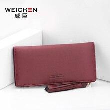 WEICHEN Women Wallet Cell Phone Pocket Tassel Female Leather Purse For Girls Photo Holder Credit Card
