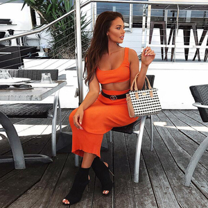Image 3 - Colysmo Womens Sexy Tweedelige Sets 2019 Zomer 2 Delige Set Vrouwen Crop Top En Rok Set Party Club Outfits oranje Sets Kleding