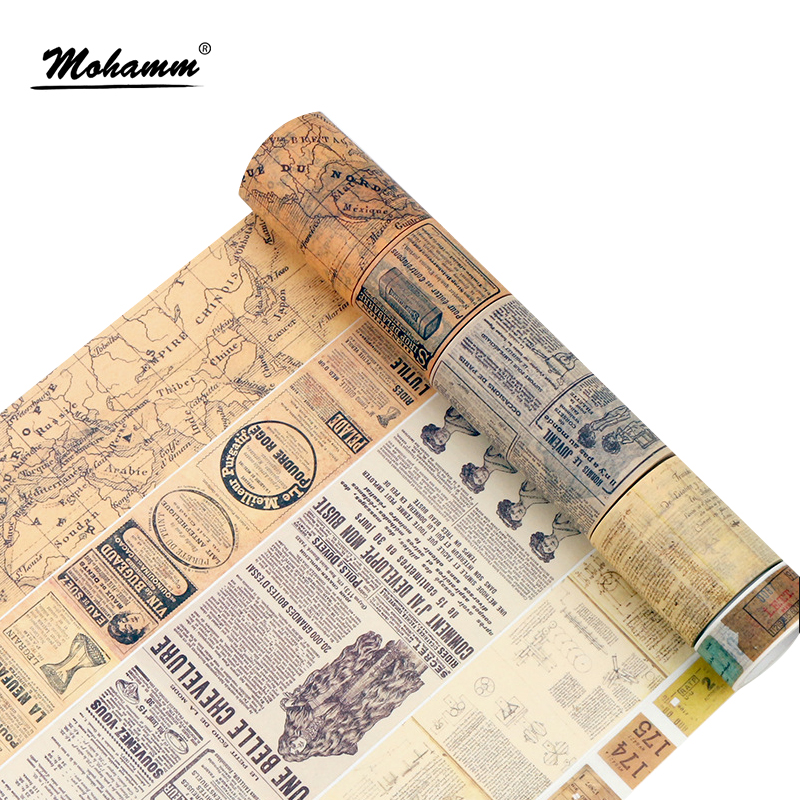 Creative Retro Newspaper Map Gothic Decorative Adhesive Tape Washi Tape DIY Scrapbooking Masking Tape School Office Supply