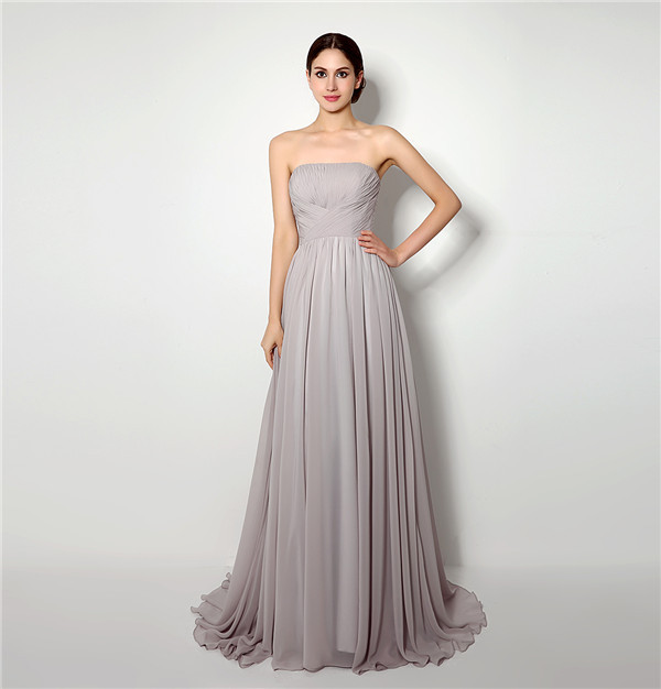 2015 New Arrival Real Sample Gray Chiffon Pleats Strapless Maid Of Honor  Dresses Long Bridesmaid Dress