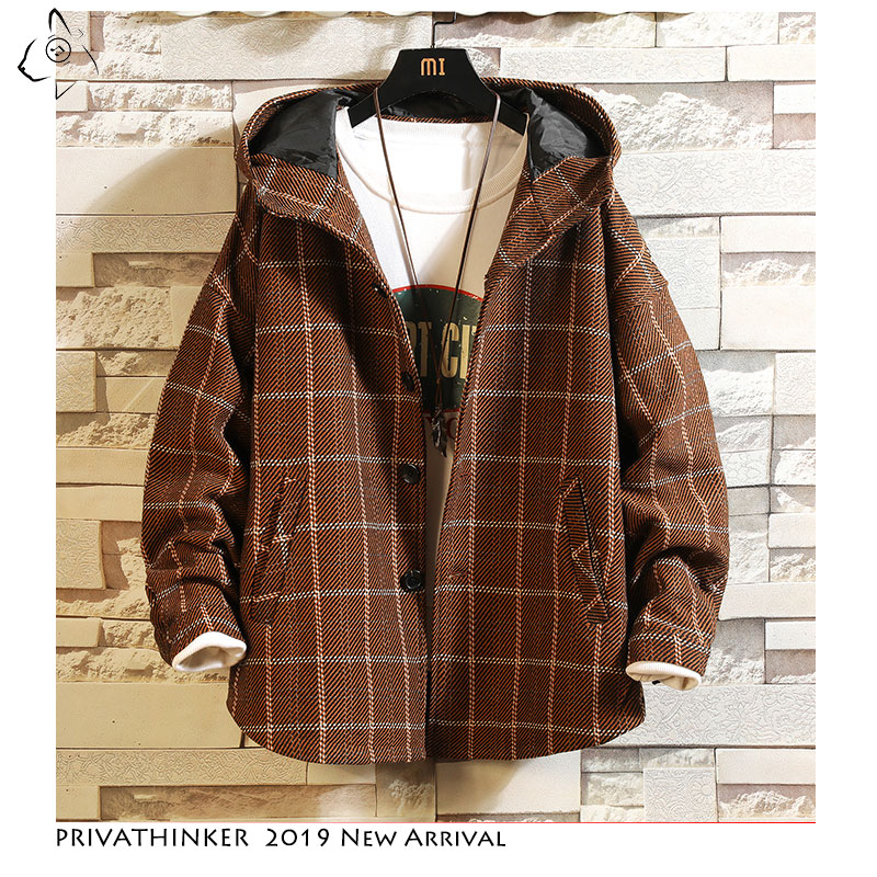 Privathinker Man Streetwear 2019 Woollen Cloth Jackets Mens Thick Windbreaker Jacket Male Autumn Winter Japanese Oversize Innrech Market.com