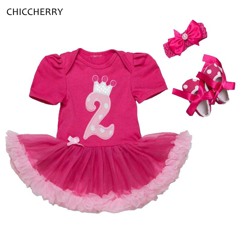 Fashion 2 Years Birthday Dress Headbands Crib Shoes Baby Girl Clothes Toddler Birthday Outfits Baby Gift Sets Infant Clothing