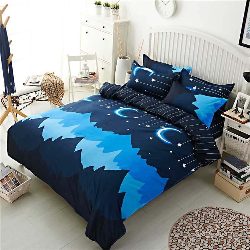 1pcs Polyester Quilt Cover Night Sky Printed Duvet Cover Simple Home Decor Comforter Cover Red Heart Double Queen King Bed Cloth