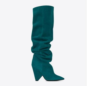 2018 winter new women pointed toe high heel long boots Black/green/brown solid spike heel knee-high boots Fashion boots for lady perixir women pu knee high black boots solid 3 cm low heel boots for women fashion shoes boots in winter square heel pointed toe
