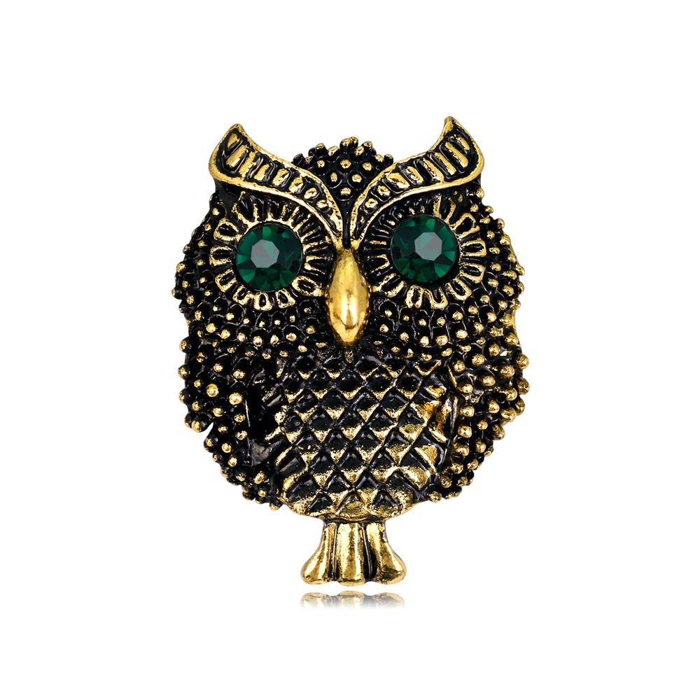 Trendy Vintage Alloy Rhinestone Owl Bird Brooches Pins for Women Cute Brooch Corsage Hats Scarf Clips Jewelry Accessories