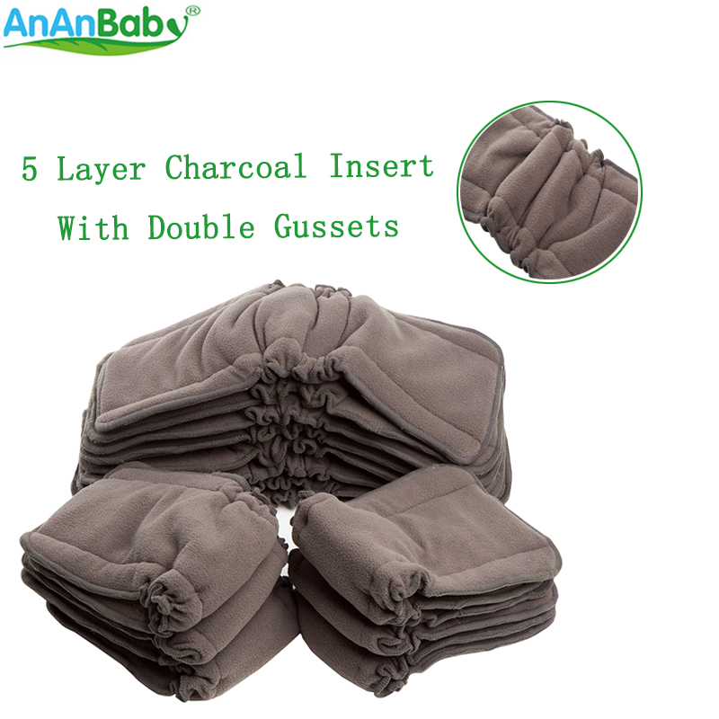 90pcs/lot 5 Layers Bamboo Charcoal Gusset Inserts Washable Bamboo Inserts