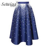 SETWIGG Hepburn Style Autumn Dotted Thick Flare Skirts Stretch Waist Polka Dot Calf Long A Line
