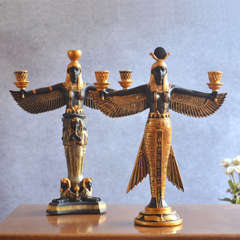 Isis Goddess Candle Holder Statue&Sculpture Candlestick Resin Craft Egyptian Style Home Decoration Accessories R264