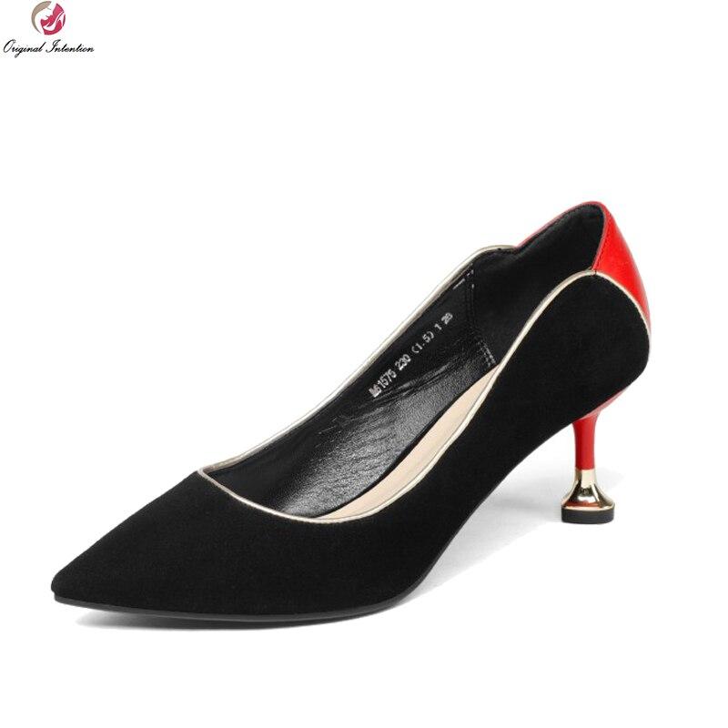 Первоначальное намерение супер стильные туфли замша Kid хороший острым носом тонкие каблуки насосы красный желтый обувь женщины нам Размер 3-8.5