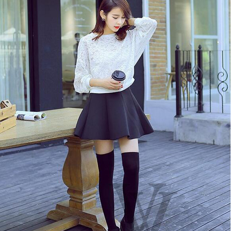 2017 Women Girl Autumn Winter Warmth Stockings Black White Skinny Thick Thigh High Stocking Strench Knitted Over Knee Stockings